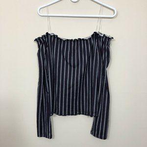Ultra Flirt Sz XL Blue Stripe Off Shoulder Blouse